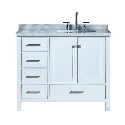 Utley 43 Rectangular Single Bathroom Vanity Set Base Finish: White