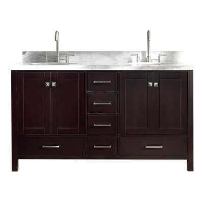 Utley 61 Double Bathroom Vanity Set Base Finish: Espresso