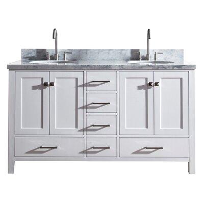 Utley 61 Double Bathroom Vanity Set Base Finish: White