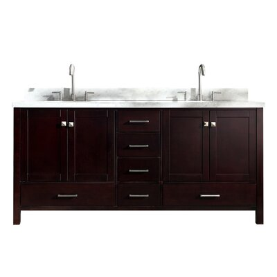 Utley 73 Double Bathroom Vanity Set Base Finish: Espresso