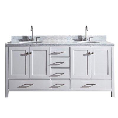 Utley 73 Double Bathroom Vanity Set Base Finish: White