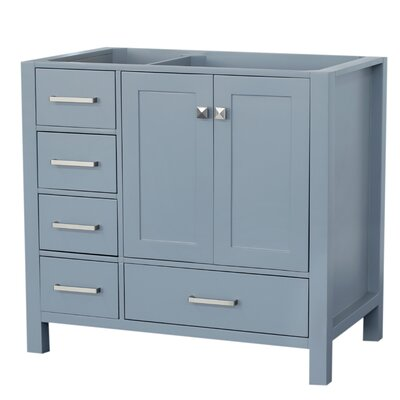 Cambridge Right Offset 36 Single Bathroom Vanity Base Base Finish: Gray