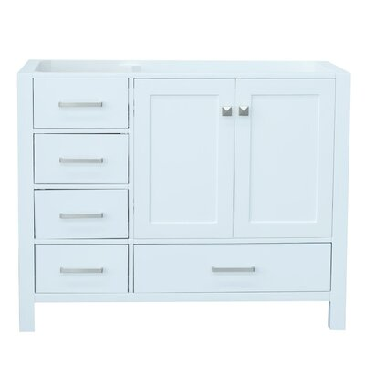 Cambridge Right Offset 42 Single Bathroom Vanity Base Base Finish: White