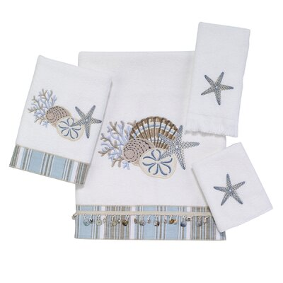 By the Sea 4 Piece Towel Set Color: White
