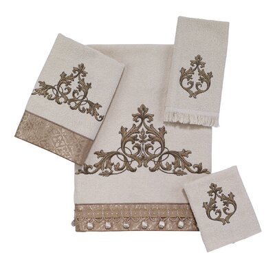 Monaco 4 Piece Towel Set Color: Ivory