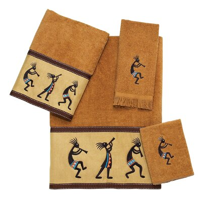 Kokopelli 4 Piece Towel Set Color: Nutmeg