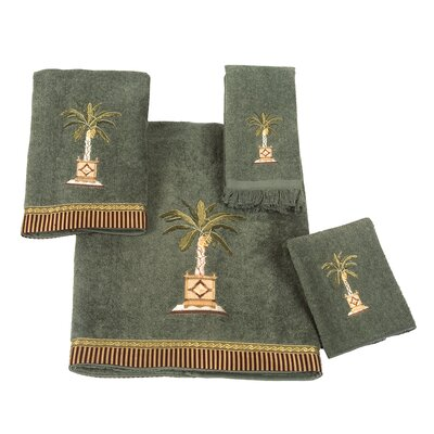 Banana Palm 4 Piece Towel Set Color: Green