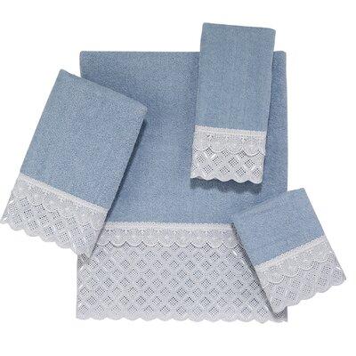 Eyelet Scallop 4 Piece Towel Set Color: Blue Fog
