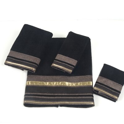 Geneva 4 Piece Towel Set Color: Black