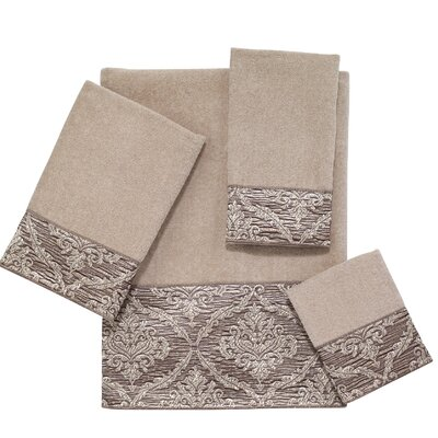 Damask 4 Piece Towel Set Color: Linen