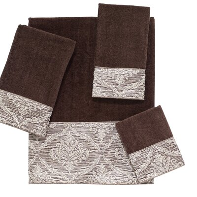 Damask 4 Piece Towel Set Color: Mocha