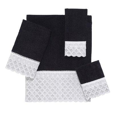 Eyelet Scallop 4 Piece Towel Set Color: Black