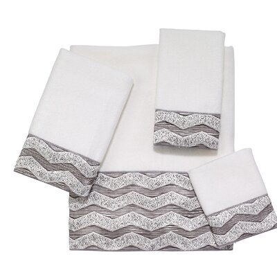 Chevron Galaxy 4 Piece Towel Set Color: White