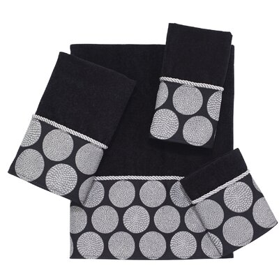 Dotted Circles 4 Piece Towel Set Color: Black