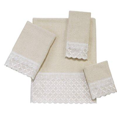 Eyelet Scallop 4 Piece Towel Set Color: Ivory