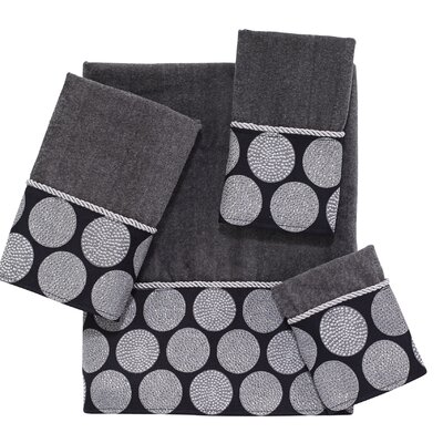 Dotted Circles 4 Piece Towel Set Color: Granite