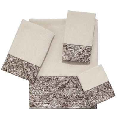 Damask 4 Piece Towel Set Color: Ivory