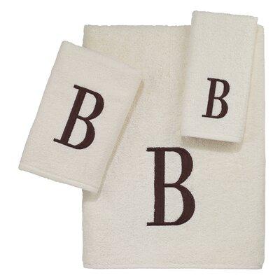 Block Monogram Letter B 3 Piece Towel Set