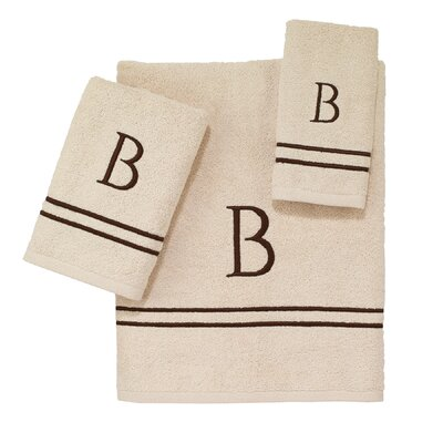 Block Monogram Letter V 3 Piece Towel Set
