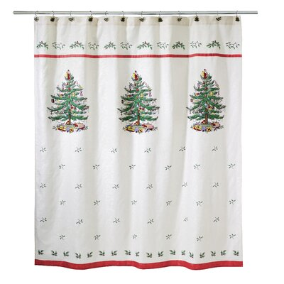 Tree Shower Curtain with Tossed Holly Leaves