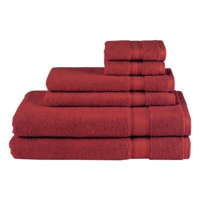 Schmitt Solid 6 Piece Towel Set Color: Burgundy