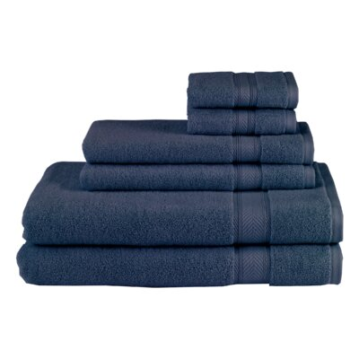 Solid 6 Piece Towel Set Color: Navy