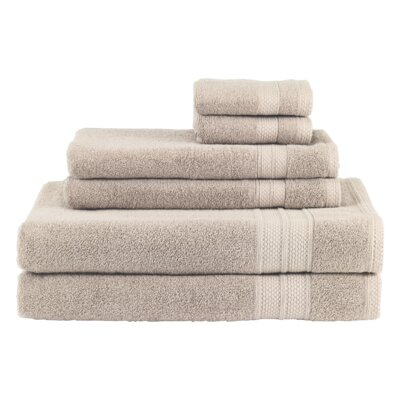 Solid 6 Piece Cotton Towel Set Color: Dune