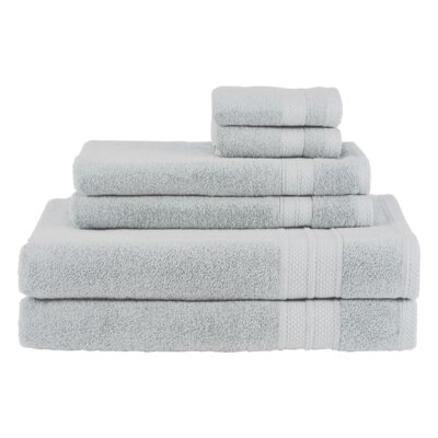 Solid 6 Piece Cotton Towel Set Color: Glacier
