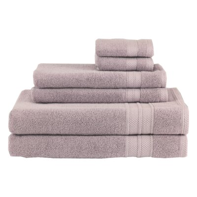 Solid 6 Piece Cotton Towel Set Color: Roseash