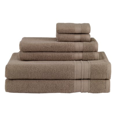 Solid 6 Piece Cotton Towel Set Color: Taupe