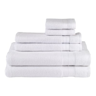 Solid 6 Piece Cotton Towel Set Color: White