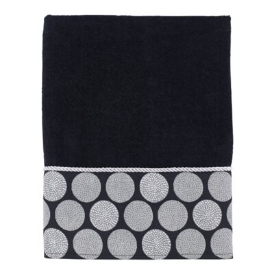 Greenberg Dotted Circles Bath Towel Color: Black