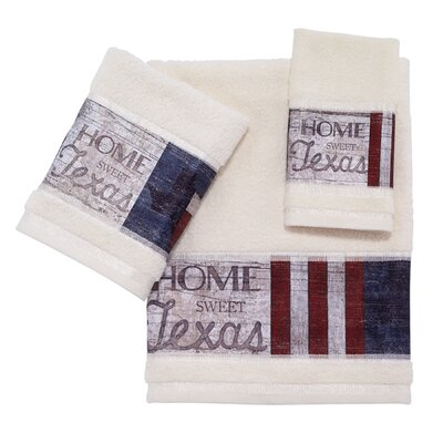 Zindell Home Sweet Texas 3 Piece Towel Set