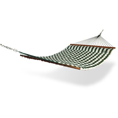 Striped Polyester Tree Hammock Color: Green / White