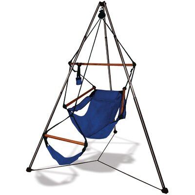 Polyester Chair Hammock with Stand Color: Midnight Blue, Dowels: Wood