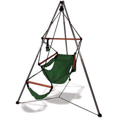 Polyester Chair Hammock with Stand Color: Hunter Green, Dowels: Aluminum