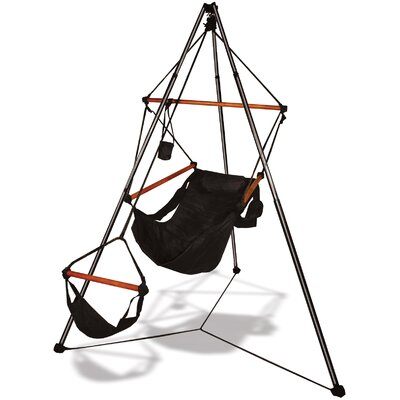 Polyester Chair Hammock with Stand Color: Jet Black, Dowels: Wood