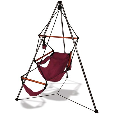 Tripod Stand Hammock Chair Combo Burgundy Dowels Wood picture