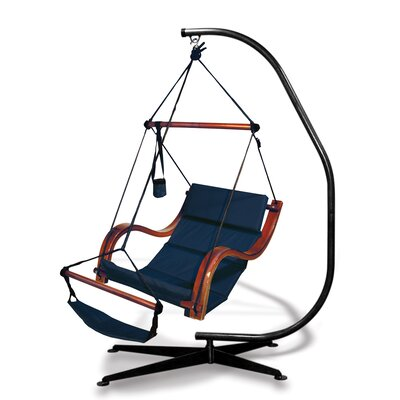 Nami Polyester Chair Hammock with Stand Color: Midnight Blue
