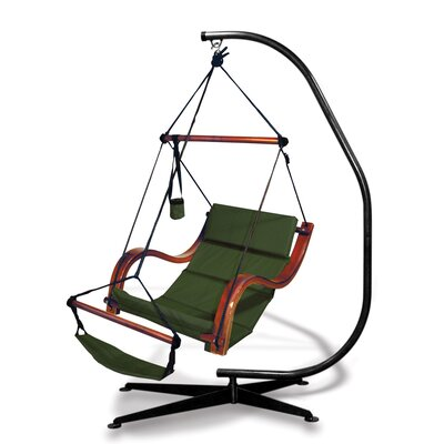 Nami Polyester Chair Hammock with Stand Color: Hunter Green