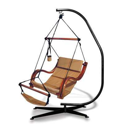 Nami Polyester Chair Hammock with Stand Color: Natural Tan
