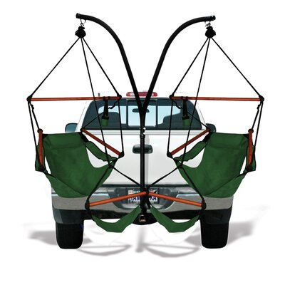 Trailer Hitch Stand Cotton Chair Hammock with Stand Color: Hunter Green, Dowels: Wood