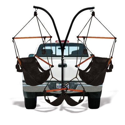 Trailer Hitch Stand Cotton Chair Hammock with Stand Color: Jet Black, Dowels: Wood
