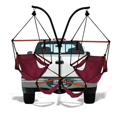 Trailer Hitch Stand Cotton Chair Hammock with Stand Color: Burgundy, Dowels: Wood