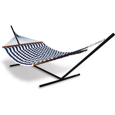 Universal Stand Polyester Hammock with Stand Color: Blue / White