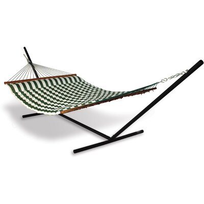 Universal Stand Polyester Hammock with Stand Color: Green / White