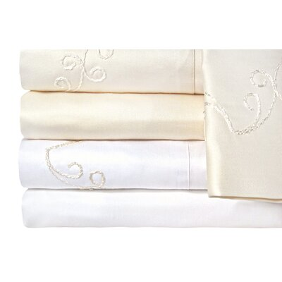 Supreme Sateen 1200 Thread Count Scroll Sheet Set Color: White, Size: Queen