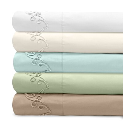 Supreme Sateen 300 Thread Count Cotton Pillowcase Color: Blue, Size: King