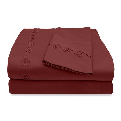500 Thread Count Egyptian Quality Cotton Sheet Set with Chenille Swirl Color: Merlot, Size: Full