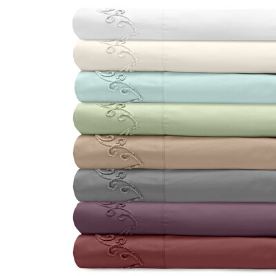 Supreme Sateen 500 Thread Count Cotton Pillowcase Size: King, Color: Ivory